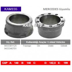 KAM155 Mercedes Uyumlu 9433301125 9433340701 Travego On Diskli Tip Gobek Porya Wheel Hub