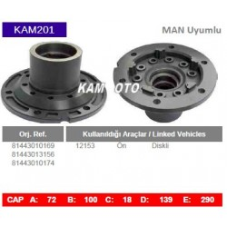 KAM201 Man 12153 Uyumlu 81443010169 81443013156 81443010174 On Diskli Tip Porya Wheel Hub