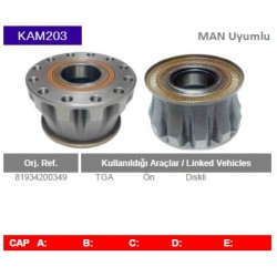 KAM203 Man Uyumlu 81934200349 TGA On Diskli Tip Porya Wheel Hub