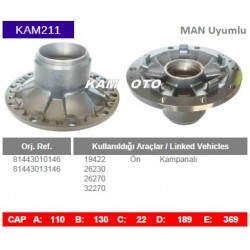 KAM211 Man Uyumlu 81443010146 81443013146 19422 26230 26270 32270 On Kampanalı Tip Porya Wheel Hub