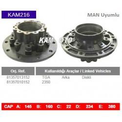 KAM216 Man Uyumlu 81357013152 81357010152 TGA 2350 Arka Diskli Tip Porya Wheel Hub