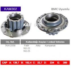 KAM302 Bmc Uyumlu 7KA12558 Fatih 16222 16225 Arka Kampanalı Tip Porya Wheel Hub
