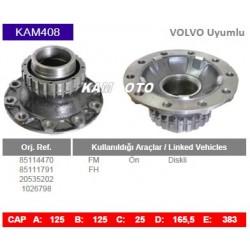 KAM408 Volvo Uyumlu 85114470 85111791 20535202 1026798 FM FH Ön Diskli Tip Porya Wheel Hub