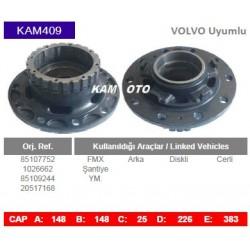 KAM409 Volvo Uyumlu 85107752 1026662 85109244 20517168 FMX Arka Cerli Diskli Tip Porya Wheel Hub