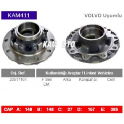 KAM411 Volvo Uyumlu 20517164 F Seri Arka Cerli Kampanalı Tip Porya Wheel Hub