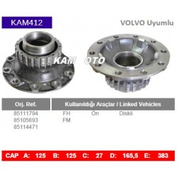 KAM412 Volvo Uyumlu 85111794 85105693 85114471 FH FM On Diskli Tip Porya Wheel Hub