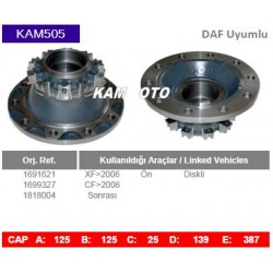 KAM505 Daf Uyumlu 1691621 1699327 1818004 XF CF On Diskli Tip Porya Wheel Hub
