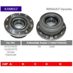 KAM612 Renault Uyumlu 5010216920 7420879770 201044 VKBA5308 Porya Gobegi Wheel Hub