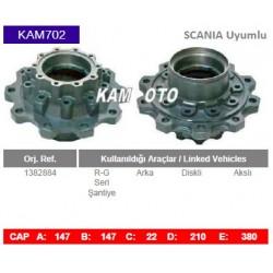 KAM702 Scania Uyumlu 1382884 R-G Seri Arka Akslı Diskli Tip Porya Wheel Hub