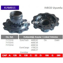 KAM811 Iveco Uyumlu 7173316 7173315 7173314 Euro Tech Euro Cargo Euro Star On Diskli Tip Porya Wheel Hub