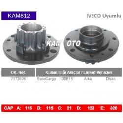KAM812 Iveco Uyumlu 7173696 Euro Cargo 130E15 Arka Diskli Tip Porya Wheel Hub