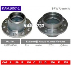 KAM1007-1 Bpw Uyumlu 0327244340 Eco Jumbo 12 Ton Çakma Tip Porya Wheel Hub