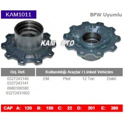 KAM1011 Bpw Uyumlu 0327243140 0327243141 0980106580 03272431602 Pilot 12 Ton Diskli Tip Porya Wheel Hub