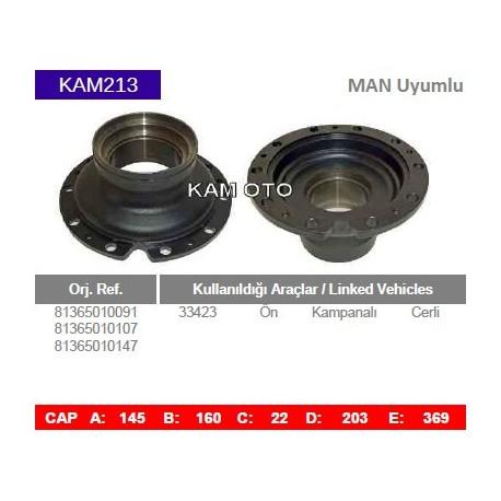 KAM213 Man Uyumlu 33423 Ön Cerli Kampanalı Tip Porya Wheel Hub