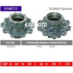 KAM711 Scania Uyumlu 1800283 Arka Diskli Tip Porya Wheel Hub