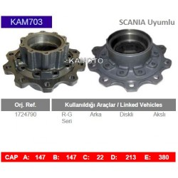 KAM703 Scania Uyumlu 1724790 R-G Seri Arka Akslı Diskli Tip Porya Wheel Hub